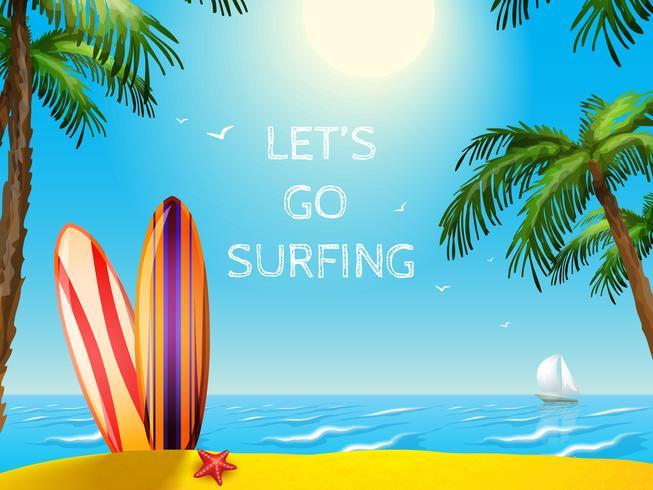Summer Travel Poster Sfondo di tavole da surf