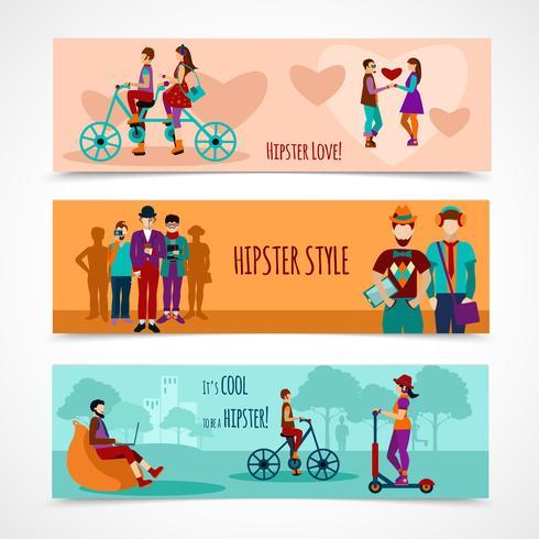 Ensemble de bannières plates personnes hipster