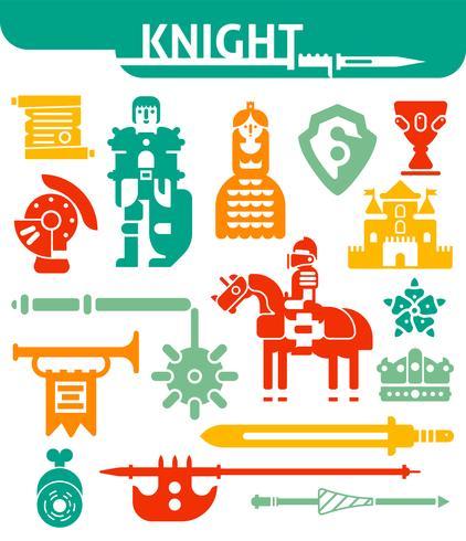 Set van zwart-wit pictogrammen ridder