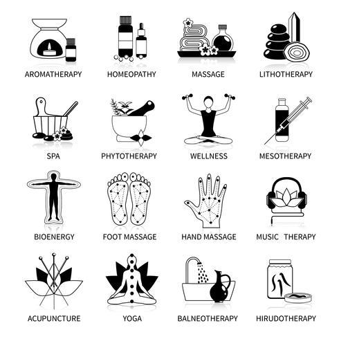 Black alternatieve geneeskunde Icons Set