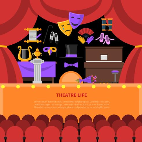 Fundo de conceito de vida de teatro vetor