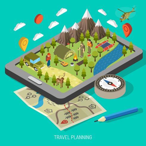 Caminhadas e conceito de Design Camping vetor