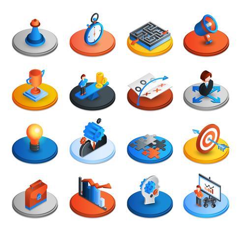 Icônes isométriques de stratégie commerciale