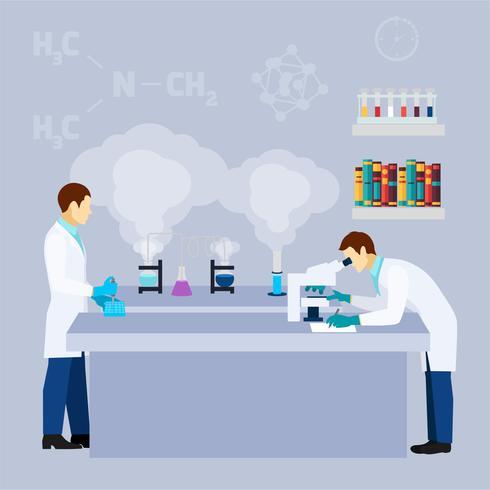 Kemisk lab vetenskapsforskning platt affisch vektor