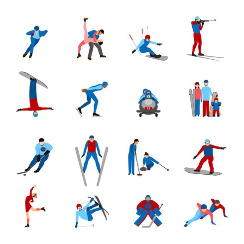 Conjunto de desportistas de inverno