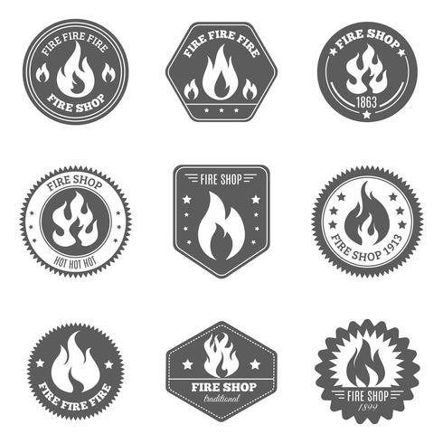 Iconos de emblemas de la tienda de bomberos conjunto negro