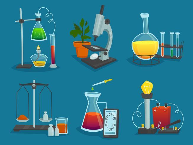 Set di icone del design di attrezzature da laboratorio vettore