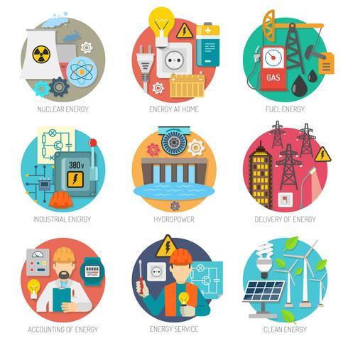 Energi platt ikoner komposition set