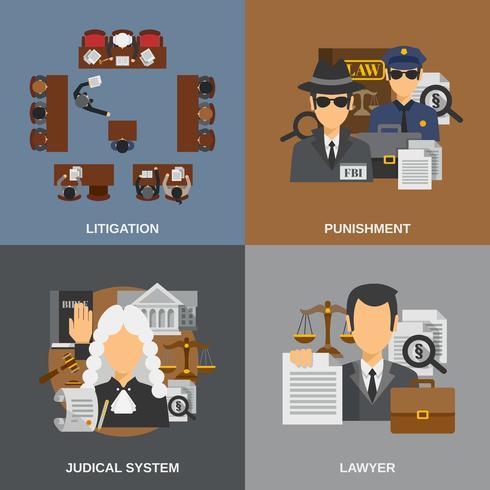 Law Flat Set vector