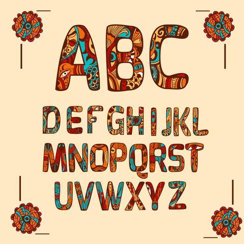 zentangle alfabetfärgat