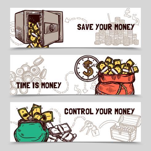 Banners financieros de gestión de tiempo conjunto doodle