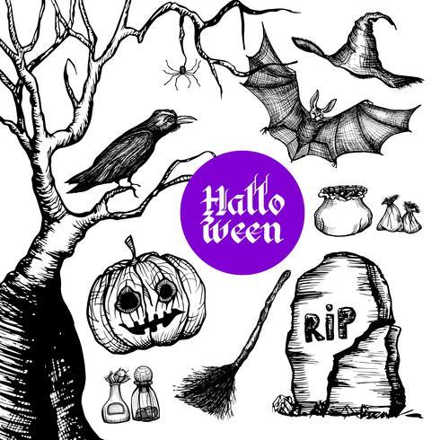 Set de Halloween dibujado a mano vector