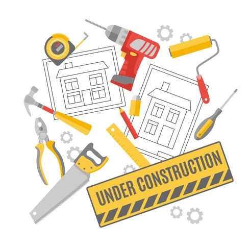Construction worker pictograms composition banner  vector