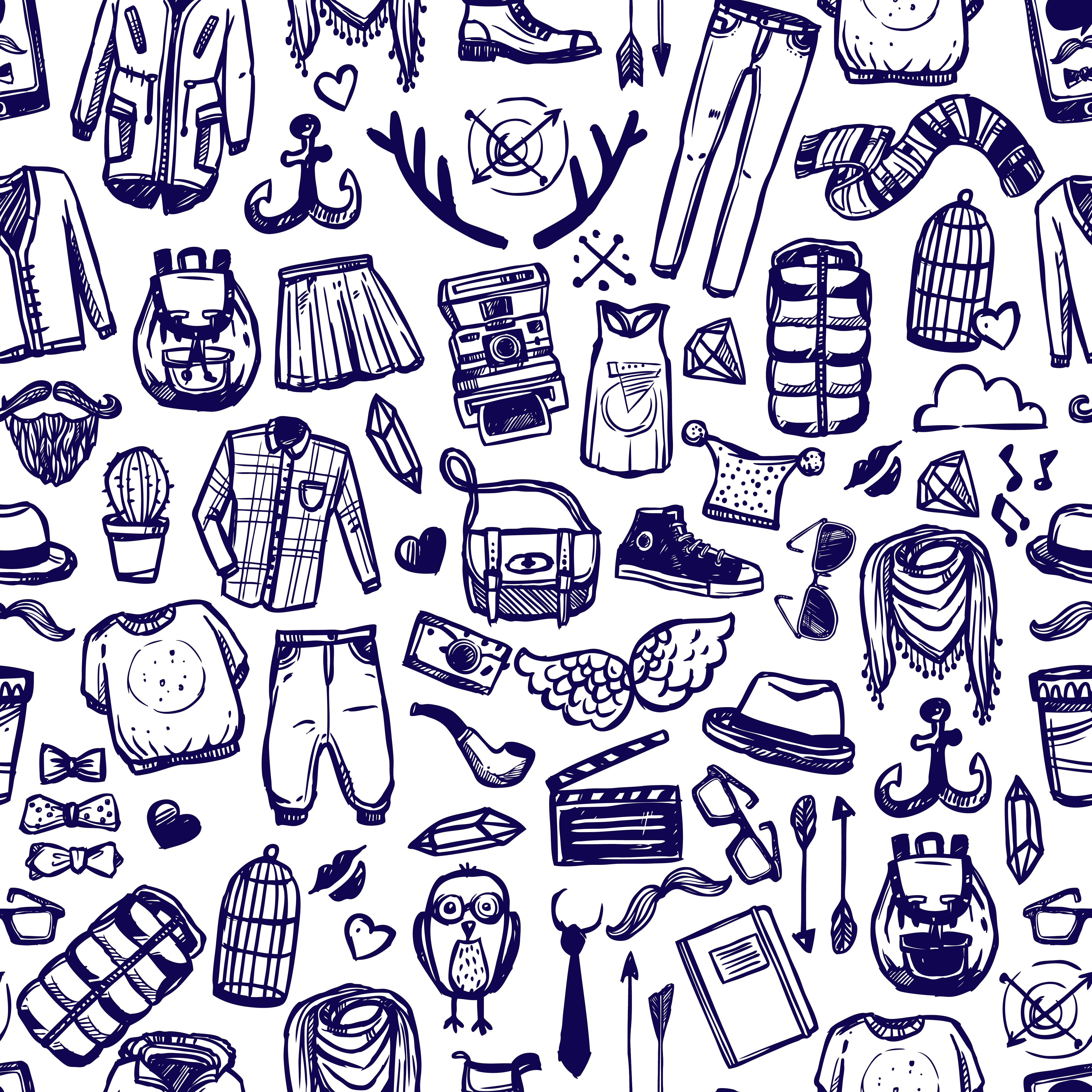 Hipster Fashion Clothing Doodle Seamless Pattern Download Free Vectors Clipart Graphics Vector Art