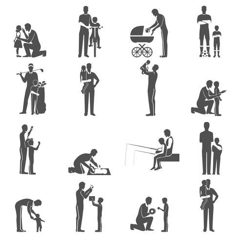 Conjunto de iconos de paternidad negro con padre e hijos vector