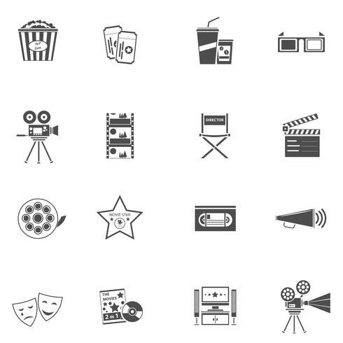 conjunto de iconos de película negro
