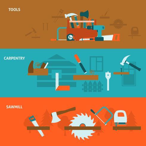 Conjunto de banners planos de herramientas de carpintería