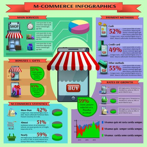 M-handel Infographic Set vektor