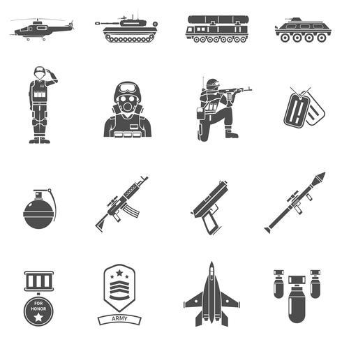 Ensemble d'icônes armée noir blanc vecteur