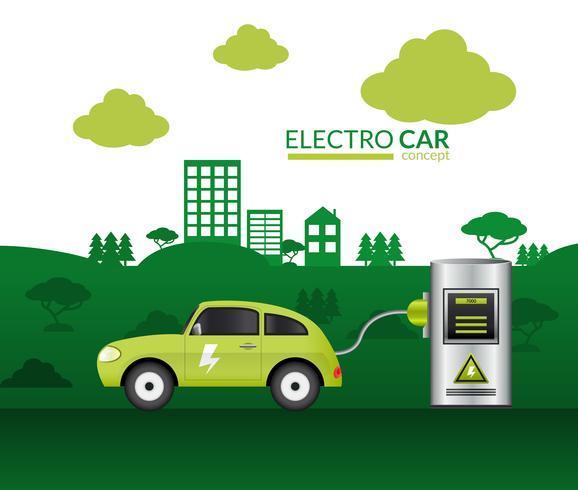 Impresión de coche eléctrico vector