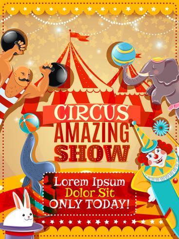 Circus prestatie aankondiging vintage poster vector