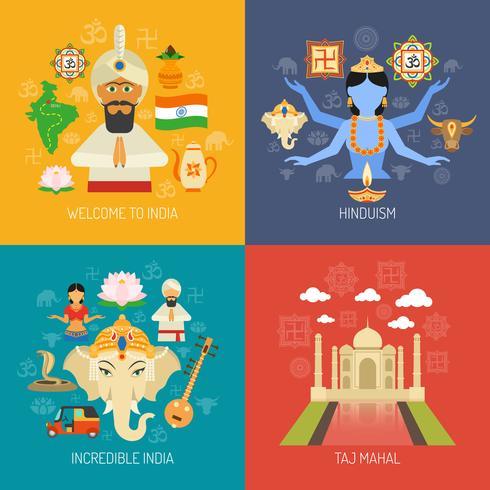 Indien-Konzept festgelegt vektor