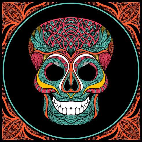 Crâne avec motif coloré