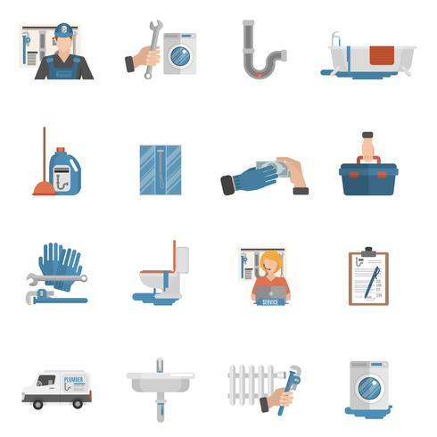 Coleção de ícones plana de serviço de encanador