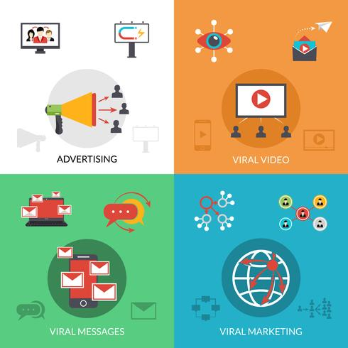 Marketing viral 4 iconos planos cuadrados