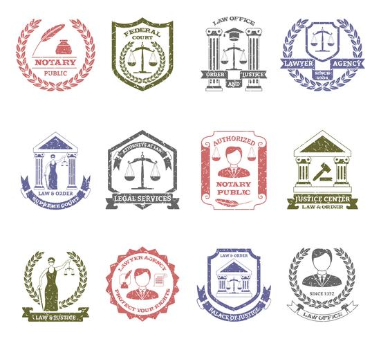 Law And Order Logo Stamps Set vector