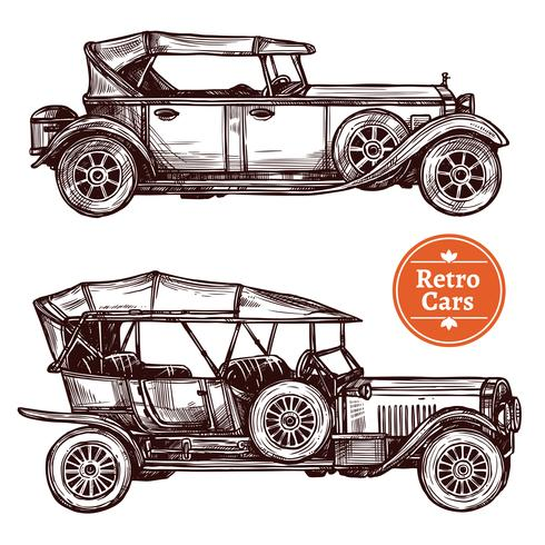 Conjunto de coches retro