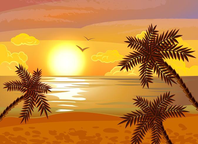 Tropische strand zonsondergang poster