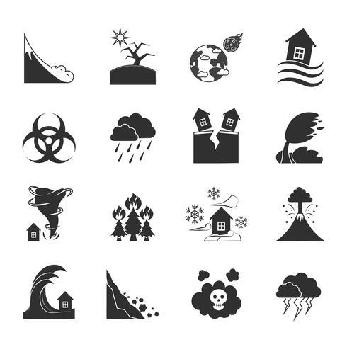 Conjunto de ícones monocromáticos de desastres naturais vetor