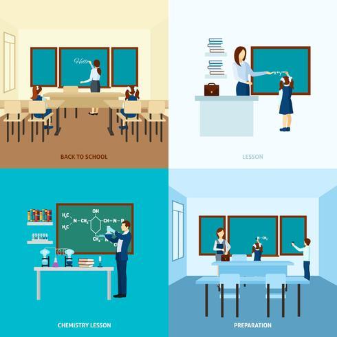 Conjunto de concepto de educación escolar