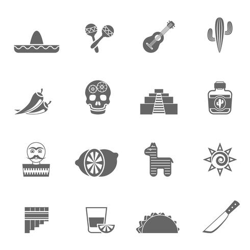Ensemble d'icônes noires symboles de la culture mexicaine