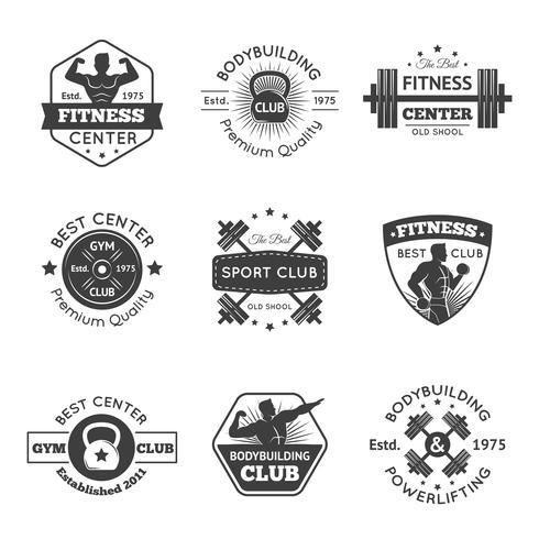 Fitness Gym Emblem Set