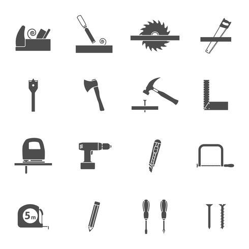 Timmerwerkhulpmiddelen zwarte geplaatste pictogrammen