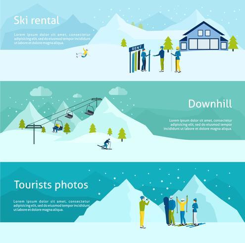 Conjunto de banners de la estación de esquí vector
