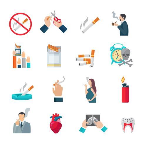 Conjunto de ícones plana de fumar