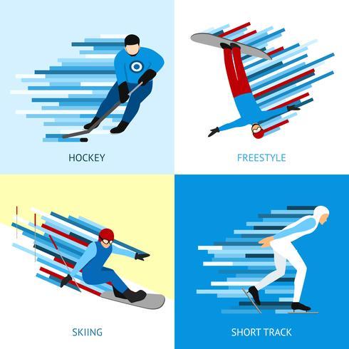 Conceito de Design desportista de inverno vetor