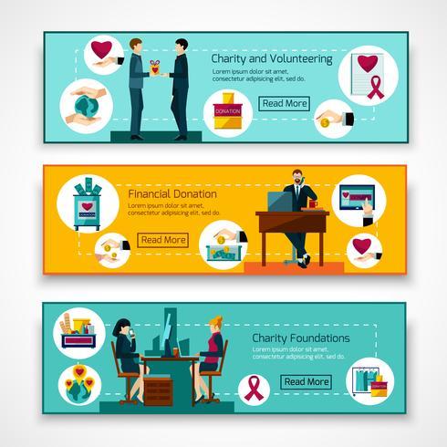 Fondazioni di beneficenza 3 set di banner piatti