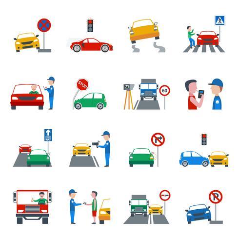 Set di icone di violazione del traffico