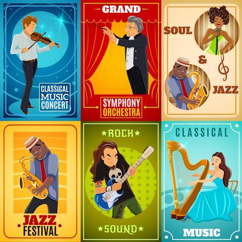 Muzikanten platte banners samenstelling poster vector