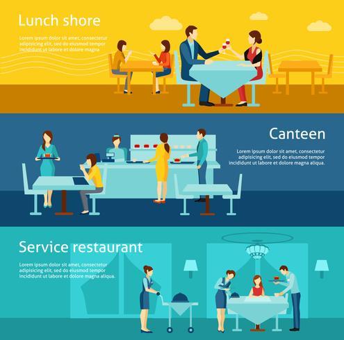 Public catering platt horisontal banderoller set vektor