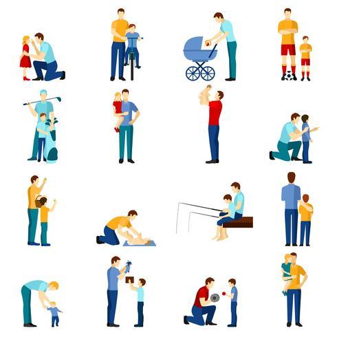 Fatherhood icons set