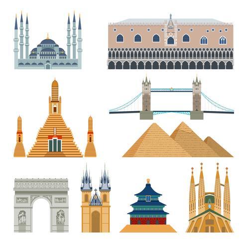 Ensemble de monuments et monuments vecteur