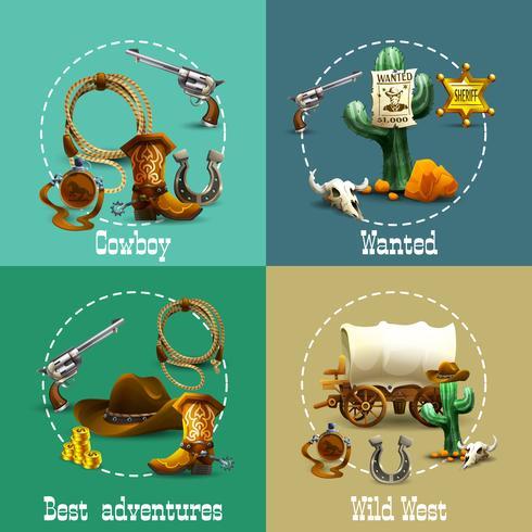 Conjunto de ícones de aventuras do oeste selvagem