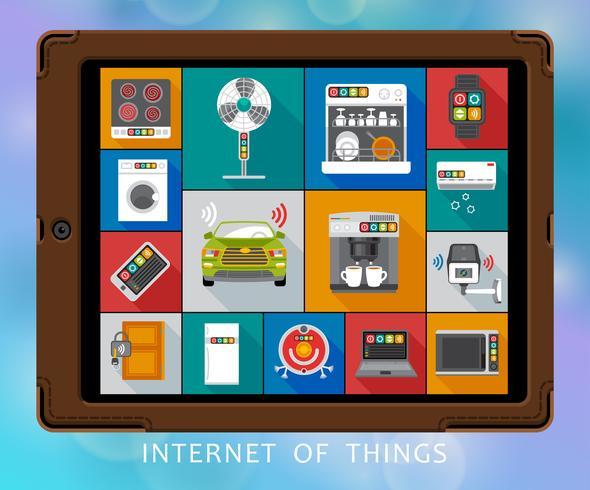 Internet av saker platta ikoner uppsättning