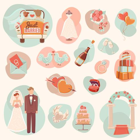 Bröllops koncept platt ikoner uppsättning