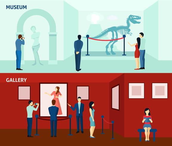 Visiteurs du musée 2 bannières plates vecteur
